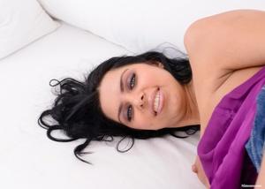 Busty brunette hottie in a purple top an - XXX Dessert - Picture 10