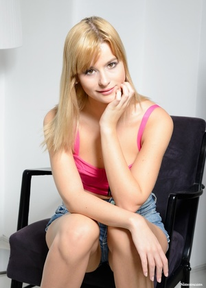 Cute fair-haired coed in a pink top and  - XXX Dessert - Picture 1