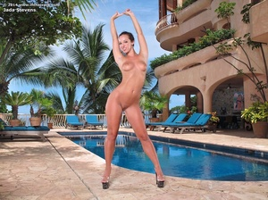 Busty coed in a sexy black swimsuit posi - XXX Dessert - Picture 5