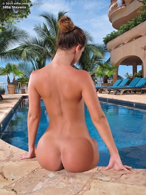 Busty coed in a sexy black swimsuit posi - XXX Dessert - Picture 7