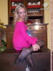 blonde black heels and