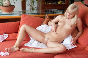 Hot blonde with hairy cunt on couch drop - XXX Dessert - Picture 6