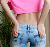 Hot blonde in pink top and cut jeans rips top and strips to show booty