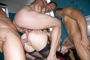 Nasty brunette babe in a black and red l - XXX Dessert - Picture 5