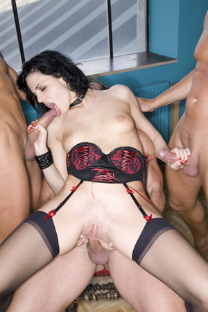 Nasty brunette babe in a black and red l - XXX Dessert - Picture 7