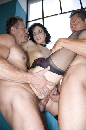 Nasty brunette babe in a black and red l - XXX Dessert - Picture 8