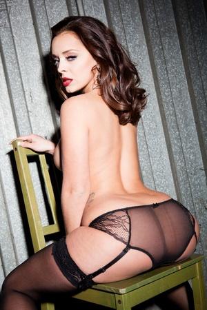 Busty brunette hottie in black nylons op - XXX Dessert - Picture 11