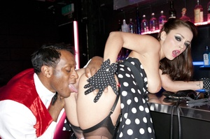 Hot brunette lady in a black polka-dot d - XXX Dessert - Picture 7