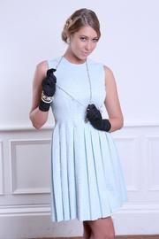 gloves-swearing blonde blue dress