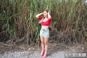 Teen hitchhiker in a red top gets gagged - XXX Dessert - Picture 1