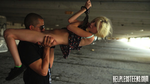 Blonde teen with plaits gets bound, gagg - XXX Dessert - Picture 9