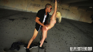 Blonde teen with plaits gets bound, gagg - XXX Dessert - Picture 11