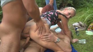 czech, garden, group sex, party