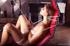 Busty long-haired nude babe roped on the - XXX Dessert - Picture 3