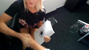 Stacked blondie in a black T-shirt givin - XXX Dessert - Picture 1