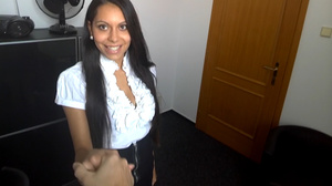 Swarthy brunette in a white blouse and g - XXX Dessert - Picture 1