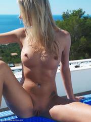 poolside posing blonde her