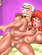 Hot ebony MILF Donna from porn Cleveland Show fits two white dicks into