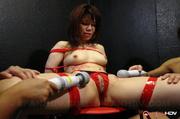 tied-up slave red lingerie