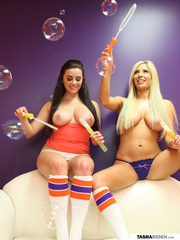 lusty brunette and blonde
