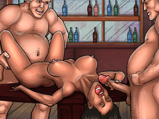 Two drunk dudes handling brunette chick while blonde - Picture 3
