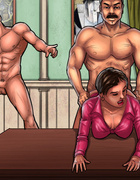 Ponytailed hottie gets double penetrated while horny boss drilling hit