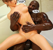 Fair-haired girl fucking with a black tattooed beast in the bathroom