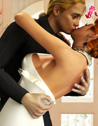 Ginger bride pleasing two huge black guys orally while her hubby taking