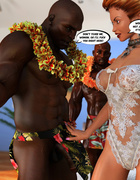 Pervert ginger bride rocking with two muscular black dudes after wedding