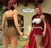 Slutty the Little Red Riding-hood's mom pleasing white and black loggers