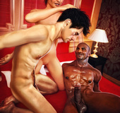 Ginger babe abusing her husband fucking with a black dude next to him