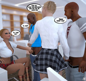 Two busty blonde office sluts seduced black guys to interracial fucking