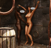 Horny black dude handling enchained brunette hottie in various poses