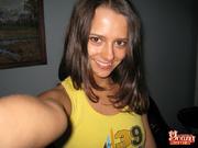 flirty slender brunette slides