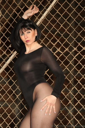 Brunette with red lips in sheer leotard  - XXX Dessert - Picture 9