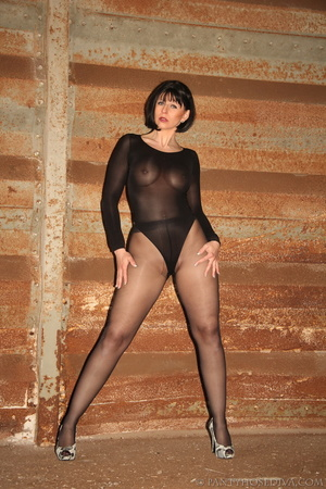 Brunette with red lips in sheer leotard  - XXX Dessert - Picture 11
