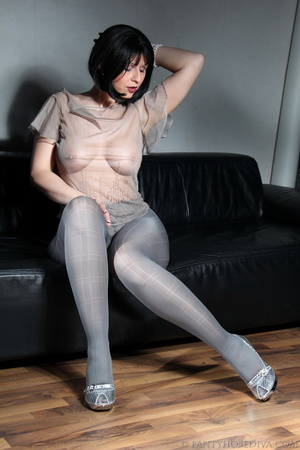 Beauty in see-through silk top, sparklin - XXX Dessert - Picture 6