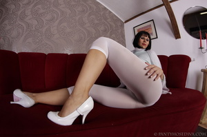 Elegant poses on the couch from brunette - XXX Dessert - Picture 4