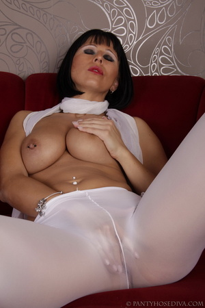 Elegant poses on the couch from brunette - XXX Dessert - Picture 11