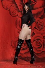 lady black thigh-high boots