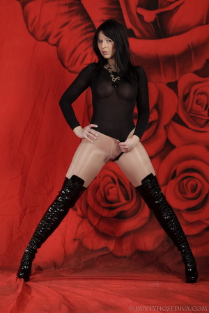 Lady in black thigh-high boots and thong - XXX Dessert - Picture 12