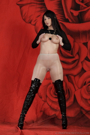 Lady in black thigh-high boots and thong - XXX Dessert - Picture 14
