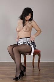 long-haired brunette stool inserts