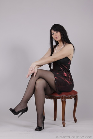 Classy gal with dark hair in black hosie - XXX Dessert - Picture 2