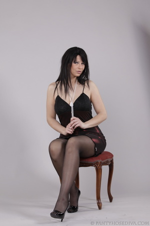 Classy gal with dark hair in black hosie - XXX Dessert - Picture 5