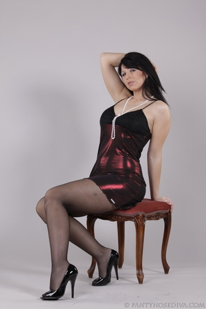 Classy gal with dark hair in black hosie - XXX Dessert - Picture 6