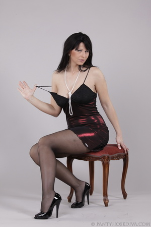 Classy gal with dark hair in black hosie - XXX Dessert - Picture 7
