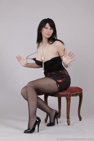 Classy gal with dark hair in black hosie - XXX Dessert - Picture 8