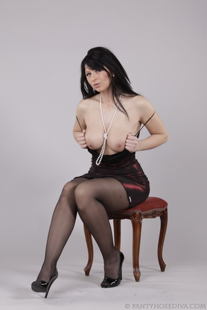 Classy gal with dark hair in black hosie - XXX Dessert - Picture 9