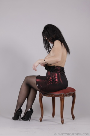 Classy gal with dark hair in black hosie - XXX Dessert - Picture 10